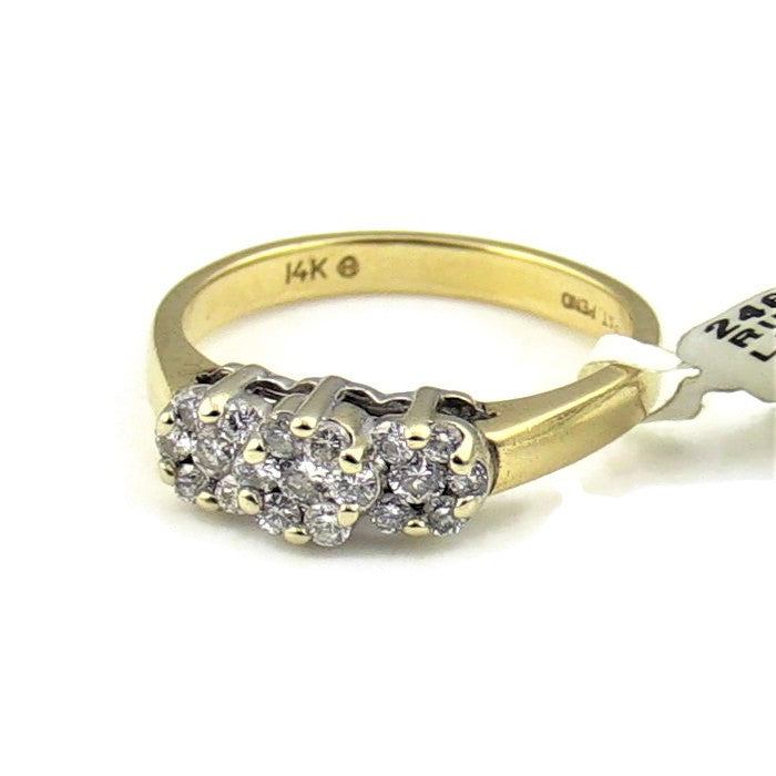 14K YELLOW DIAMOND CLUSTER RING PAST PRESENT FUTURE 2.4DWT