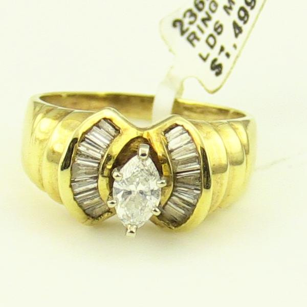 14K Yellow Gold Marquise Cut .80CTW Diamond Engagement Ring #236254