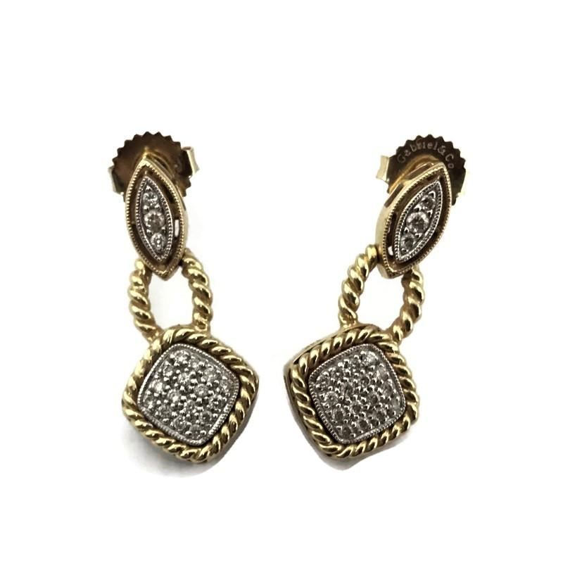 Gabriel & Co 14K Yellow Gold Diamond Fashion Earrings