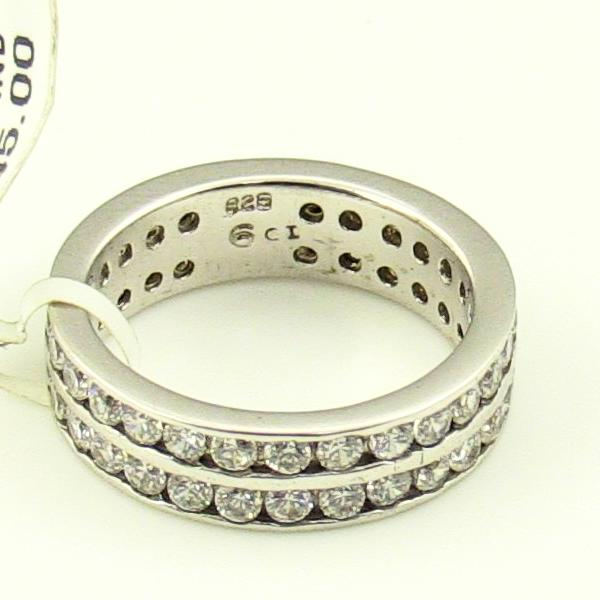 Double Row Sterling Silver CZ Band 6.4Gr., Sz. 6, New item #W-7329