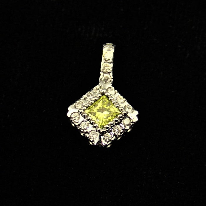.33CT Yellow Diamond & .19CT Diamond Pendant in 14K White Gold