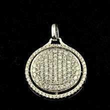 1/20CT Diamond 18K White Gold Double Circle Round Pendant