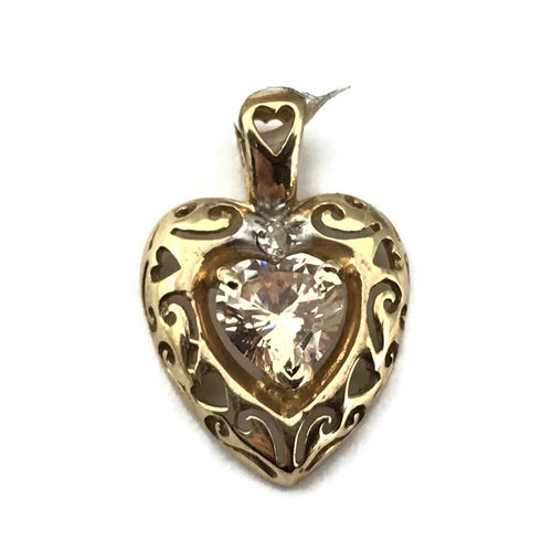10k Yellow Gold Filigree Synthetic Stone Heart Pendant