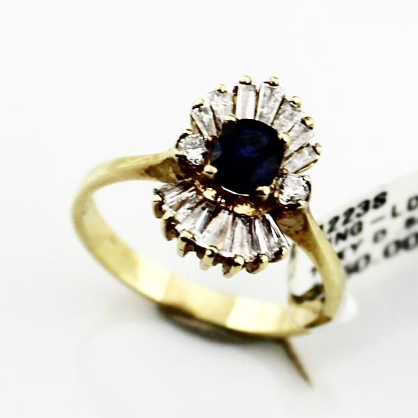LADIES 14K YELLOW GOLD .52ct OVAL SAPPHIRE & .54ct DIAMOND RING 3.3g, Sz. 6.75, New item #4223s
