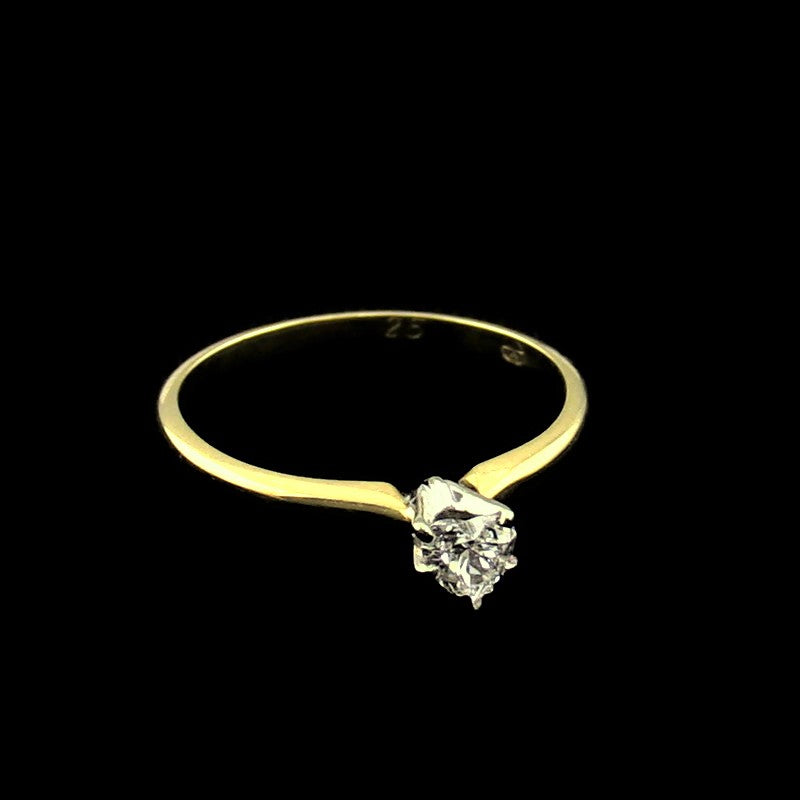 Ladies Heart Cut .25CT Diamond Engagement Ring in 14K Yellow Gold