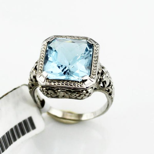 Ladies Blue Aquamarine Floral Filigree Ring in 18K White Gold, New item #410 01170