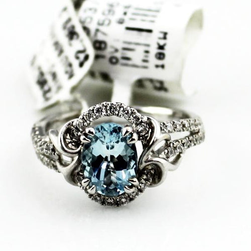 18K White Gold Aquamarine Diamond Ring 4.5g, Sz.5.75, New item #R2953/01-FS