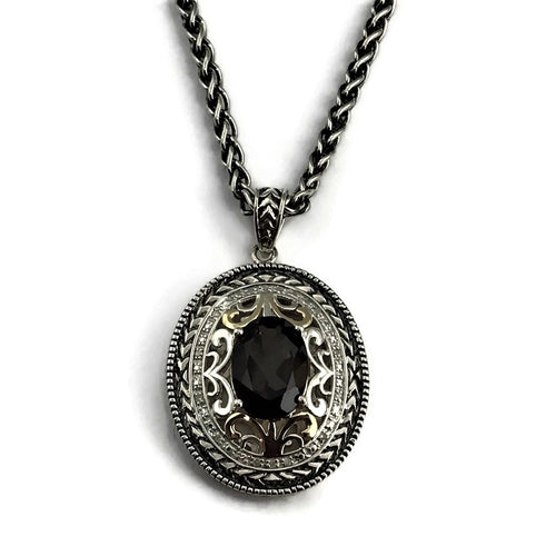 Ladies 925 Sterling Silver Diamonds and Oval Smoky Quartz Necklace with 14K Yellow Gold Accent