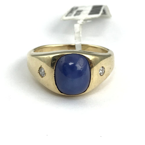 Men's JTC Vintage 14K Yellow Gold Genuine Oval Six Point Star Sapphire Ring with Diamond Accents
