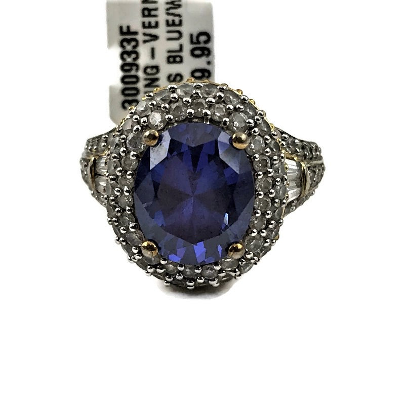 Vermeil Blue/White CZ Ladies Ring, Size 8, Pre-owned item #300933f