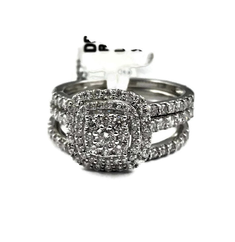 10K White Gold 1.10CT Diamond Ring W/Band 1.10CTSz.7, 5.2 Grams, New item #DDGR5724-EW
