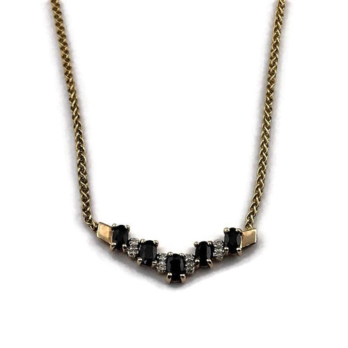 14k/10k Yellow Gold Sapphire Bar Necklace