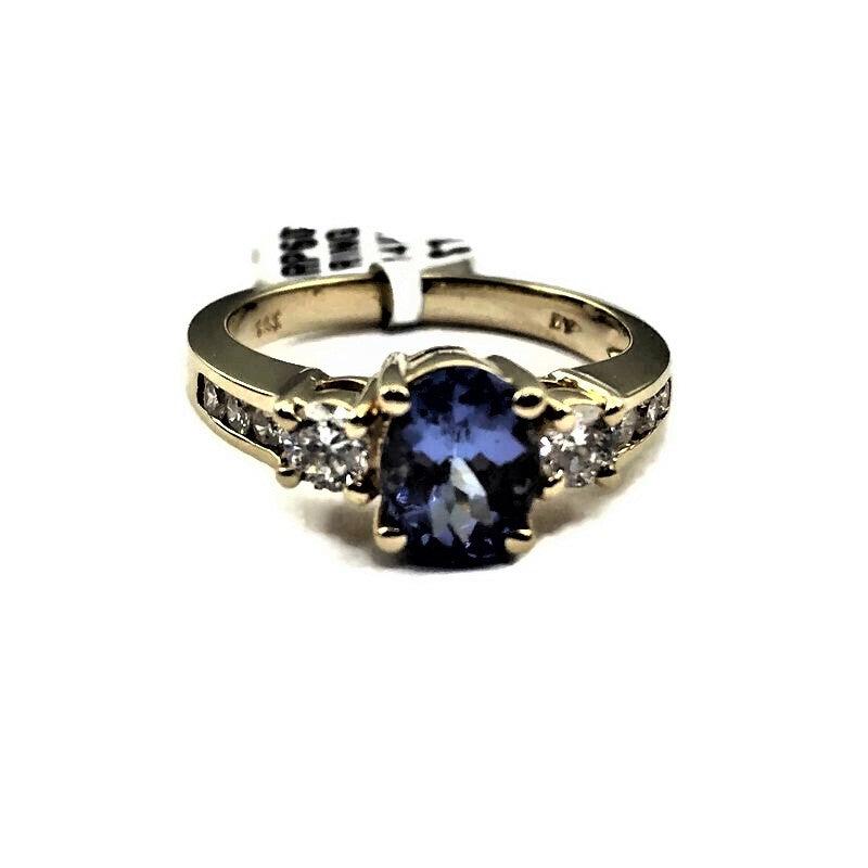 1.30CT Tanzanite & Diamond Ring In 14k Yellow Gold