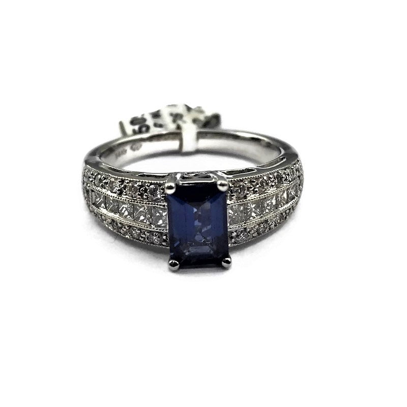 Sapphire & Diamond Ring In 14k White Gold