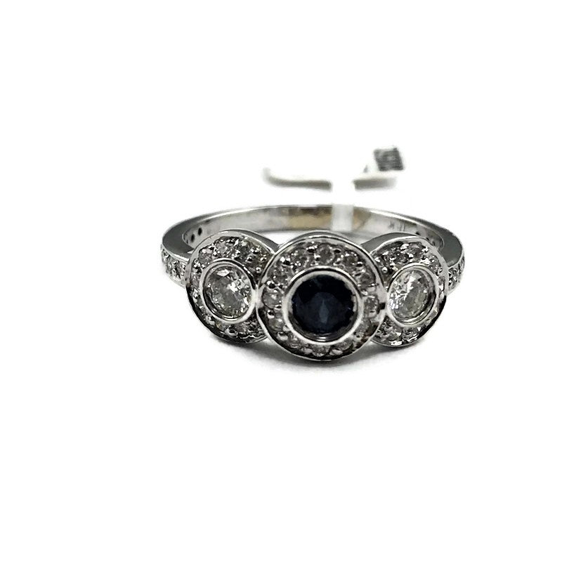 LADIES HALO .50CT DIAMOND AND .26CT SAPPHIRE RING IN 18K WHITE GOLD
