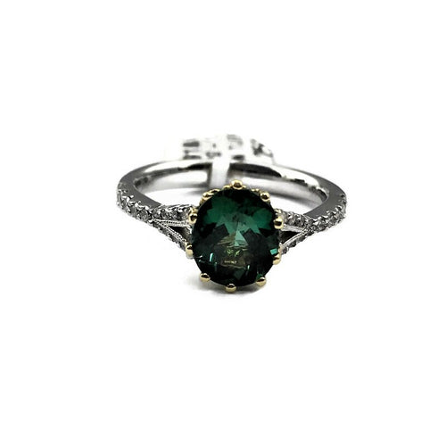 18KWY Gold Green-tourmaline Diamond Engagement Ring