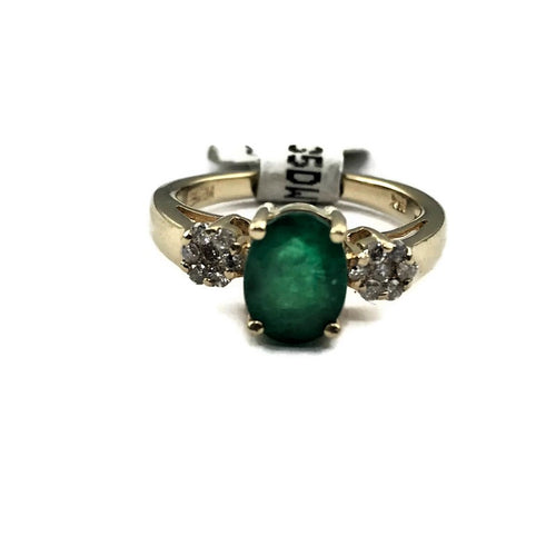 Effy 1 Ct Natural Green Oval Emerald and Diamond Designer Ring in Solid 14K Yellow Gold