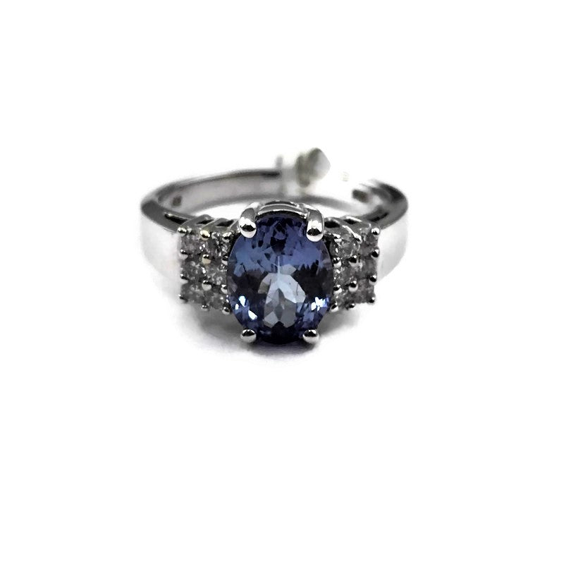2.25CT Oval Tanzanite and Diamond Engagement Bridal Ring in 14k White Gold