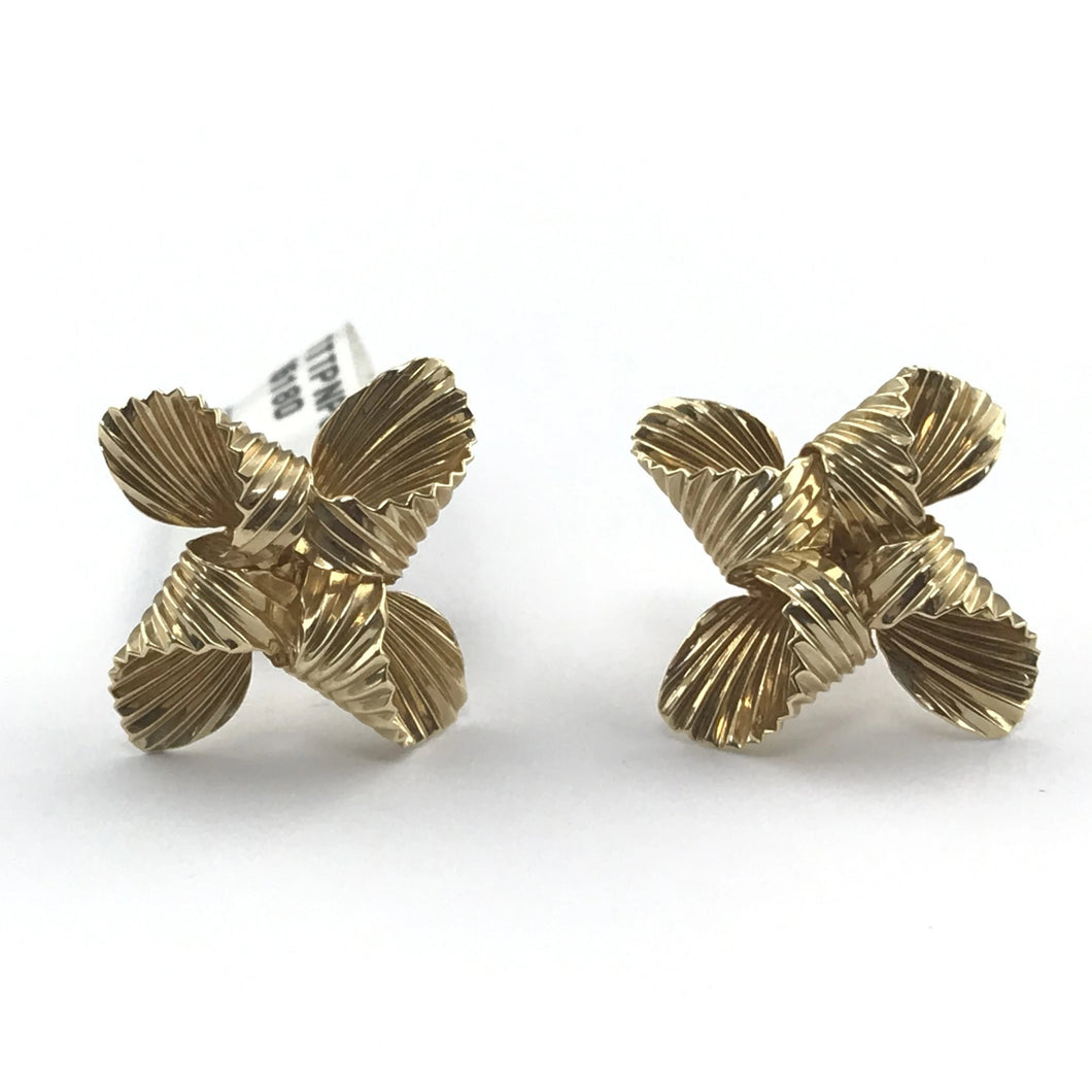 Ladies Solid 14K Yellow Gold Swirl Stud Drop Screw Back Estate Earrings, Pre-owned item #3pert