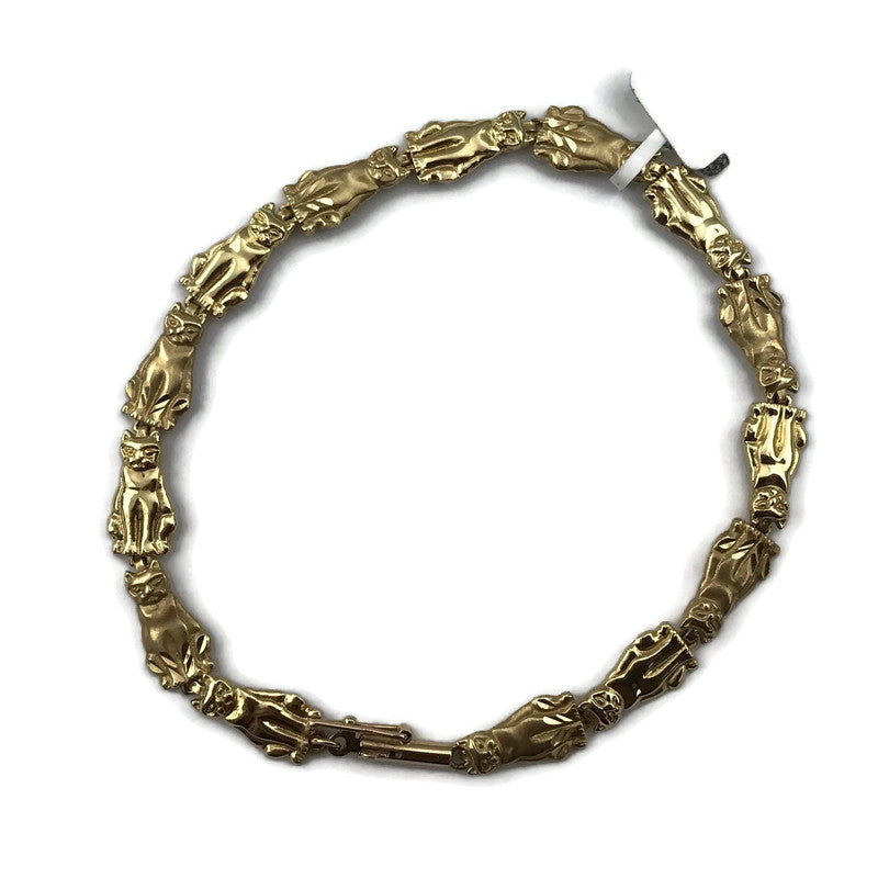 Ladies Solid 14KY Gold Polished and Satin Textured 14 Cats Link Bracelet 7'', Pre-Owned #199828e item