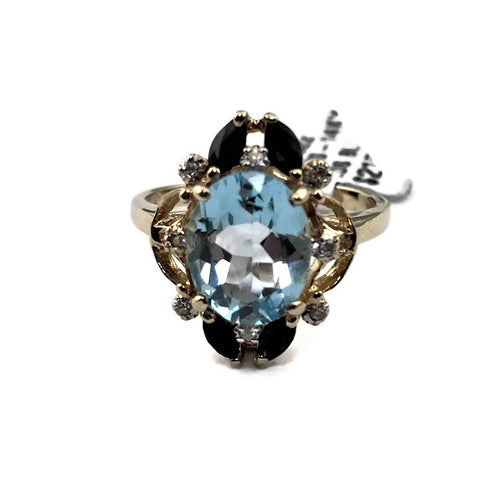 14K YELLOW GOLD BLUE TOPAZ AND DIAMOND RING, Pre-owned item #v57922