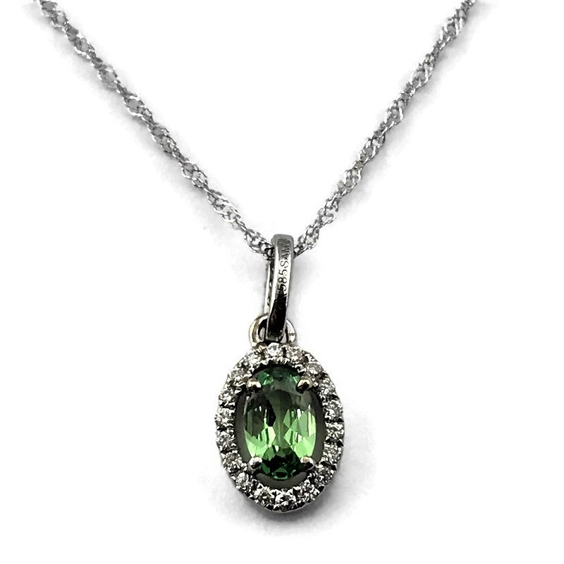 14K WHITE GOLD TSAVORITE & DIAMOND HALO PENDANT