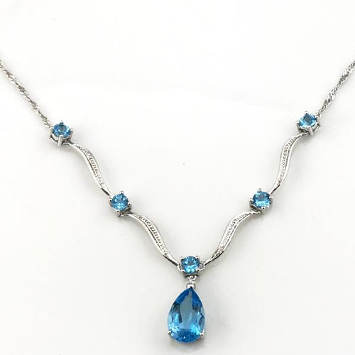 10K White Gold Blue Topaz and Diamond Pendant Necklace 3.5DWT 11