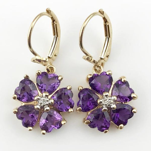 Heart-Shaped Amethyst and Diamond Accent Flower Earrings in 14K Yellow Gold 4g, pre-owned item #349780d