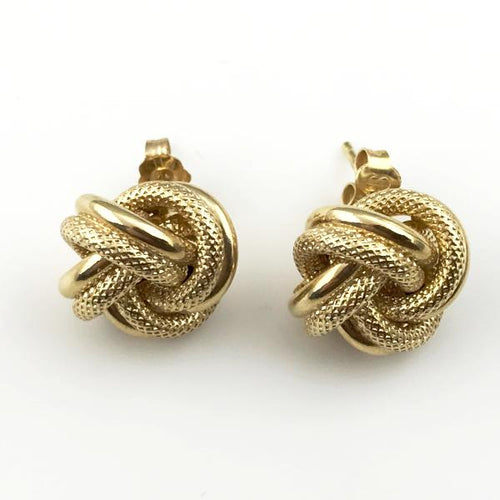 14K Yellow Gold Double Row Love Knot Stud Earrings new item #e412