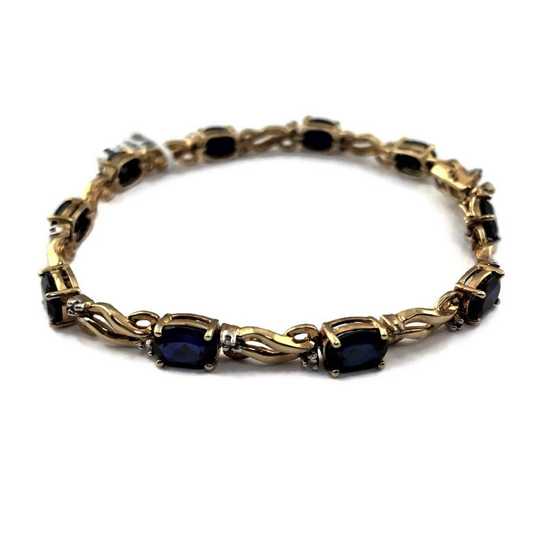 Tennis Bracelet With Diamonds & Sapphires in 14K Yellow Gold