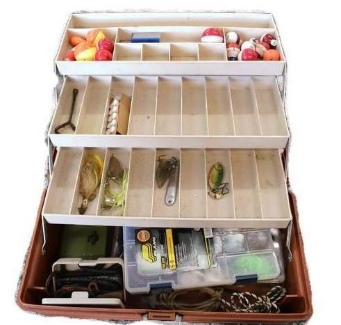 Flambeau 1713  Adventurer Fishing Tackle Box w/Assorted Gear, this is pre-owned item #339273a