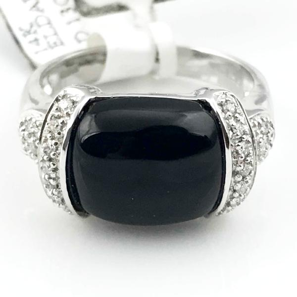 4.99CT Black Onyx and 0.13CT Diamond Ring In 14K White Gold 5.3g, Sz.7, New item #V35981