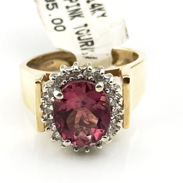 Pink Tourmaline and Diamond Ring in 14k Yellow Gold 6.7g, Sz.6 #237621E