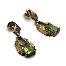 10k Yellow Gold Peridot  Earrings