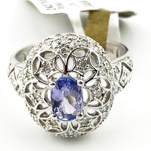 LADIES TANZANITE AND DIAMOND RING IN 14KW GOLD 4.9g, Sz.8, this is Pre-Owned Item #242780H
