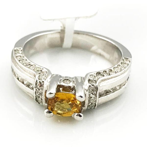 Oval Yellow .65CT Sapphire  & .70CT Diamond Engagement Ring in 14K White Gold 7g, Sz. 6.5, New item #38004