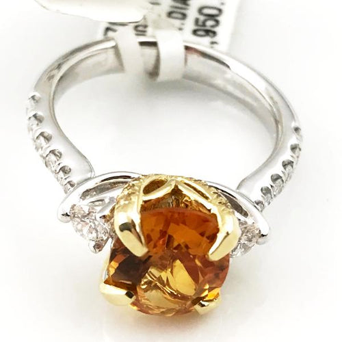 Oval Citrine & Diamond Engagement Ring in 14k White/Yellow Gold 6.2g, Sz.7 #V37699