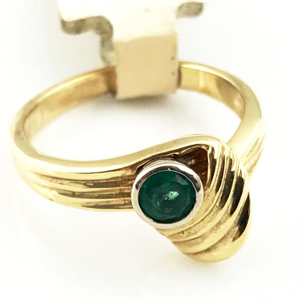 18k Yellow Gold Emerald Ring 3.9g, Sz. 6, pre-owned item #207337A