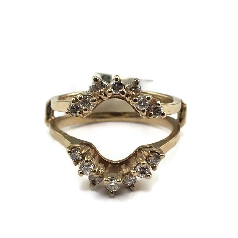 14k Yellow Gold Diamond Wrap Ring, Pre-owned item #297481b