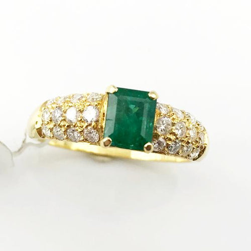 1CT Emerald and .60CT Diamond Engagement Ring in 18k Yellow Gold 3.8g, Sz.7 #V14713