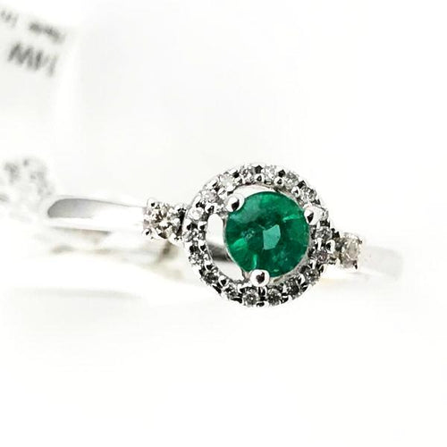 0.24CT Round Emerald & 0.12CT Diamond Engagement Ring in 14k White Gold 1.8g, Sz.7, New item #R2233EM