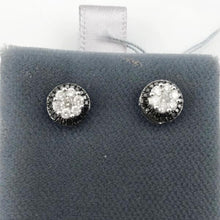 Sterling Silver Black and White Diamond Cluster Earrings 2g, New item #23134257