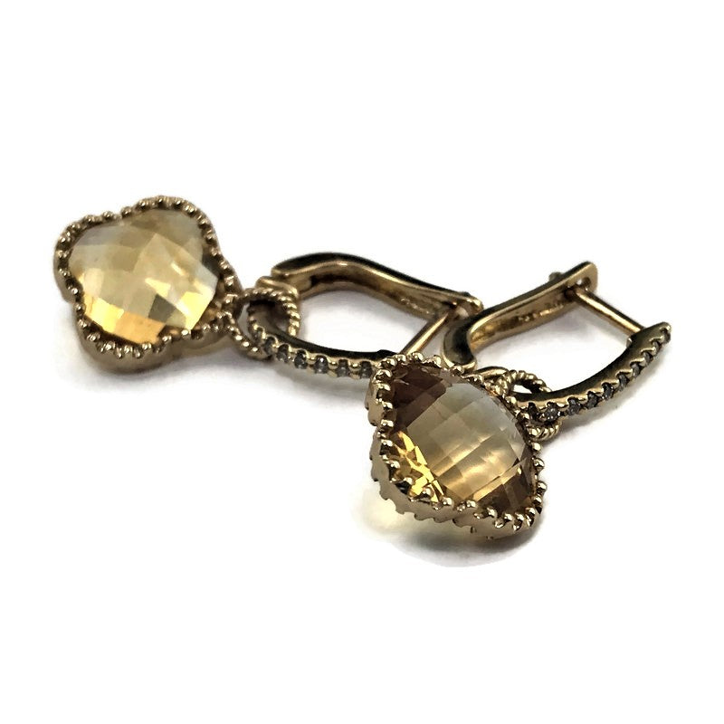 Citrine And Diamond Earrings In 14k Yellow Gold, New item #ER-1625