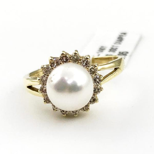 Pearl & 0.30CT Diamond Ring in 14K Yellow Gold 3.4g, Sz.6.75, New item #6015