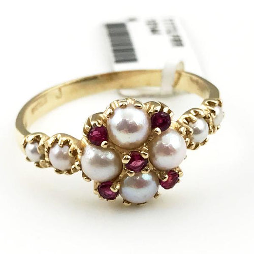 14K YELLOW GOLD PEARL AND RUBY RING 3.9g, Sz.11.5 #303215
