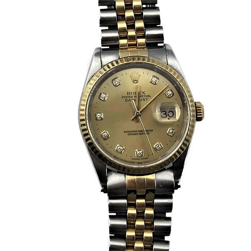 2000 Rolex Oyster Perpetual Datejust Ref. 16233 Diamond Dial Automatic Watch, Pre-owned item #329111