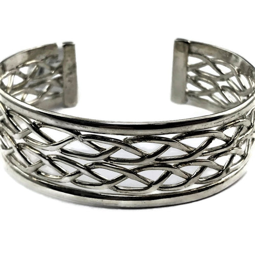 Ladies Real 925 Sterling Silver Filigree 19.8 MM Wide Bangle Cuff Bracelet , Pre-owned item #298687a