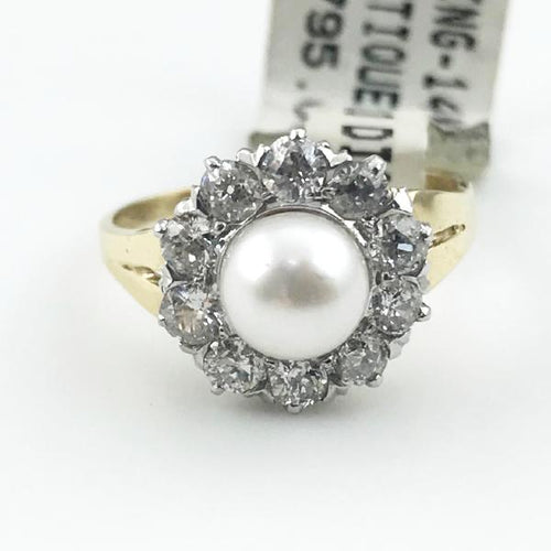 Vintage 14K Yellow Gold Pearl & Diamond Ring 3.3g, Sz.5.75 #v18722