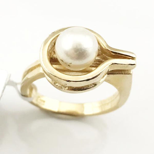 14K YELLOW GOLD PEARL RING 5.7g, Sz 5.5, Pre-owned item  #332941a