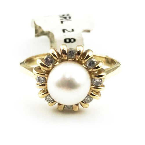 14K Yellow Gold Pearl & Diamond Ring  4.3g, Sz.7, Pre-owned item #227671